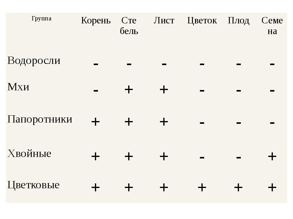 Группа Корень Сте бель Лист Цветок Плод Семена Водоросли - - - - - - Мхи - +...