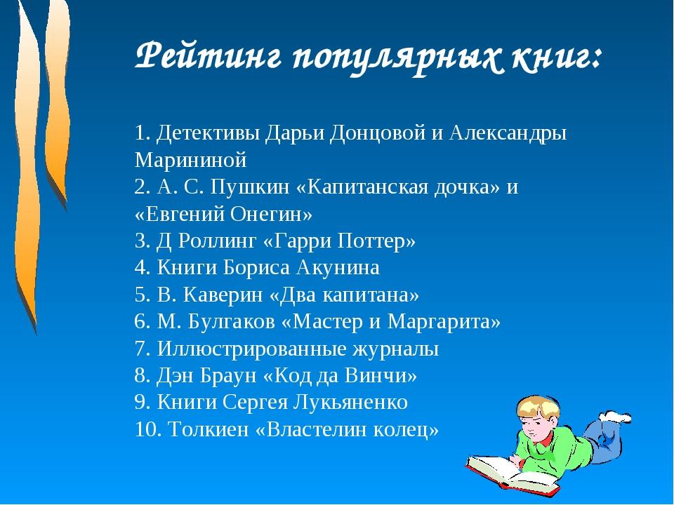 Рейтинг популярных книг: 1. Детективы Дарьи Донцовой и Александры Марининой 2...