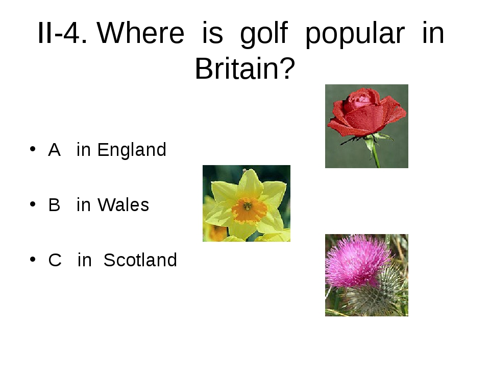 II-4. Where is golf popular in Britain? A in England B in Wales C in Scotland