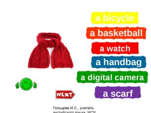 a bicycle a basketball a watch a handbag a digital camera a scarf What is it?