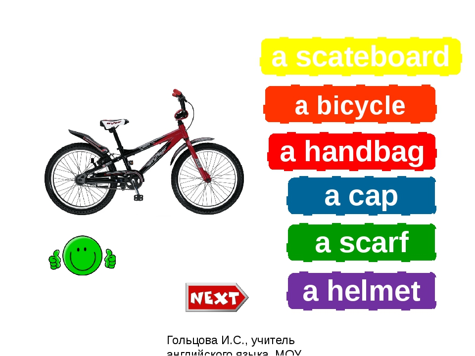a scateboard a bicycle a handbag a cap a scarf a helmet What is it? Гольцова...