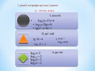 Өрнекті логарифм арқылы өрнекте А) Жұптық жұмыс ІІ деңгей ІІІ деңгей