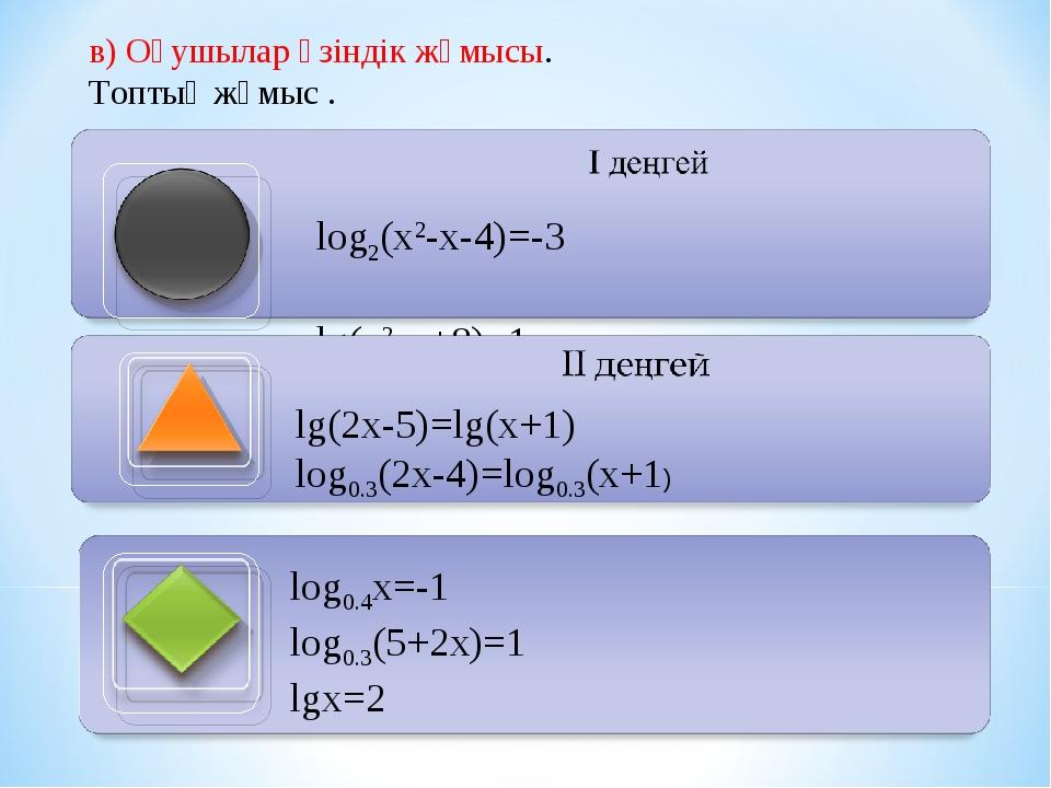 в) Оқушылар өзіндік жұмысы. Топтық жұмыс .  log2(x2-х-4)=-3 lg(x2-х+8)=1 lg(...