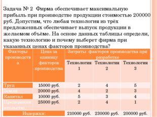 Задача № 2 Фирма обеспечивает максимальную прибыль при производстве продукции