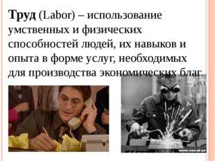 Труд (Labor) – использование умственных и физических способностей людей, их н