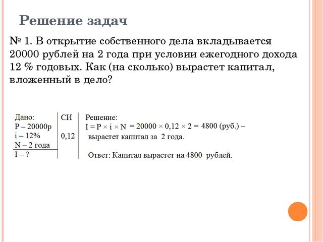 Решение задач № 1. В открытие собственного дела вкладывается 20000 рублей на...