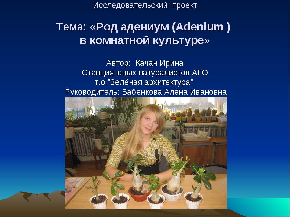 Исследовательский проект Тема: «Род адениум (Adenium ) в комнатной культуре»...