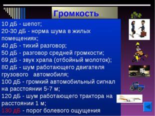 10 дБ - шепот; 20-30 дБ - норма шума в жилых помещениях; 40 дБ - тихий разгов