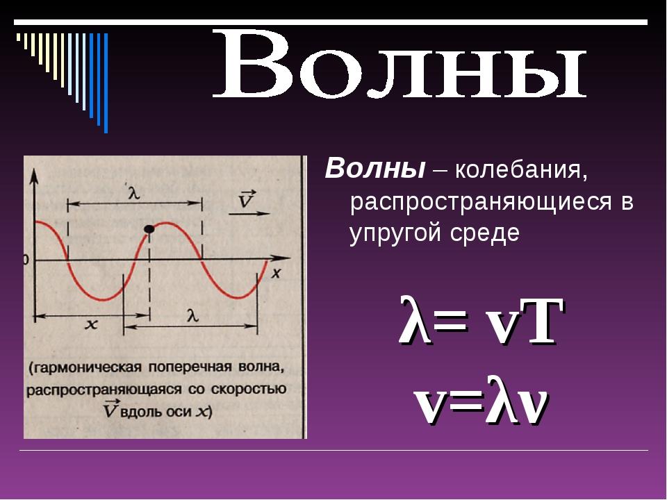 Волны – колебания, распространяющиеся в упругой среде λ= vT v=λν