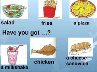 salad fries a pizza a milkshake chicken a cheese sandwich Have you got …?