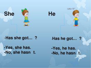 She He -Has she got… ? -Yes, she has. -No, she hasn 't. -Has he got… ? -Yes,