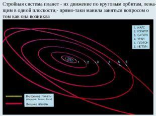 Стройная система планет - их движение по круговым орбитам, лежа- щим в одной