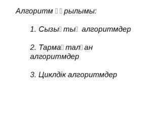 Алгоритм құрылымы: 1. Сызықтық алгоритмдер 2. Тармақталған алгоритмдер 3. Цик