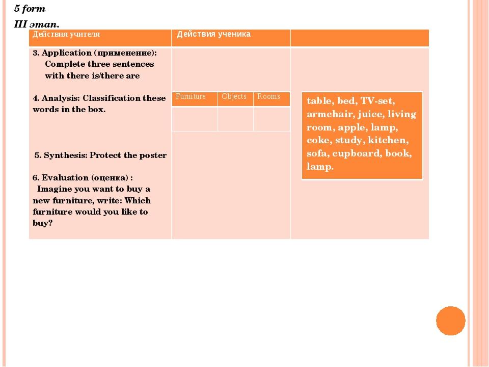 5 form III этап. Действия учителя Действия ученика 3.Application (применение...