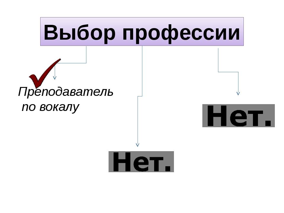 Выбор профессии Преподаватель по вокалу Певица Ветеринар