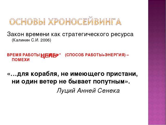 Закон времени как стратегического ресурса (Калинин С.И. 2006) ВРЕМЯ РАБОТЫ =...