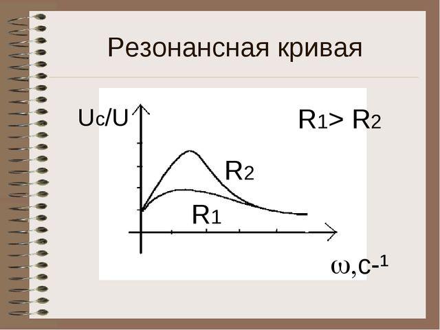 Резонансная кривая Uс/U c-¹ R1 R2 R1> R2