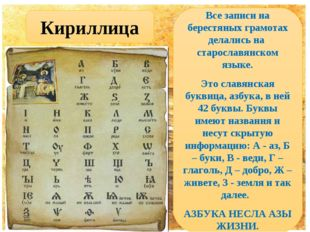 Кириллица Все записи на берестяных грамотах делались на старославянском языке