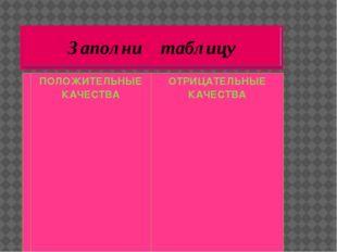 Заполни таблицу ПОЛОЖИТЕЛЬНЫЕ КАЧЕСТВА ОТРИЦАТЕЛЬНЫЕ КАЧЕСТВА