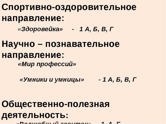 Спортивно-оздоровительное направление: «Здоровейка» - 1 А, Б, В, Г Научно – п...