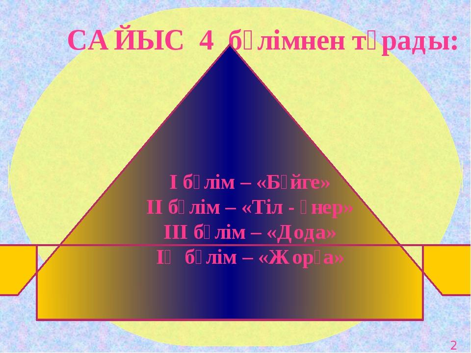 САЙЫС 4 бөлімнен тұрады: І бөлім – «Бәйге» ІІ бөлім – «Тіл - өнер» ІІІ бөлі...