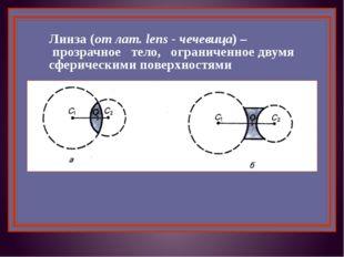 Линза (от лат. lens - чечевица) – прозрачное тело, ограниченное двумя сфериче