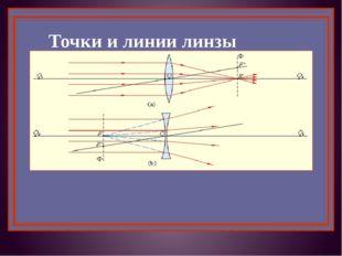 Точки и линии линзы О1О2 – главная оптическая ось линзы, ОF – фокусное рассто