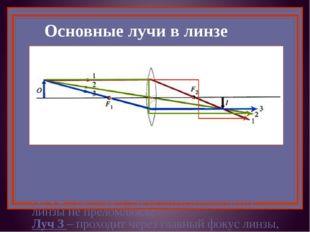 Основные лучи в линзе Луч 1 – идёт параллельно главной оптической оси, после
