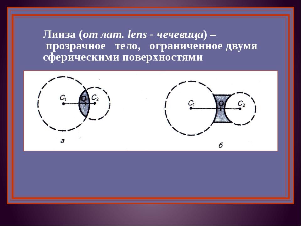 Линза (от лат. lens - чечевица) – прозрачное тело, ограниченное двумя сфериче...