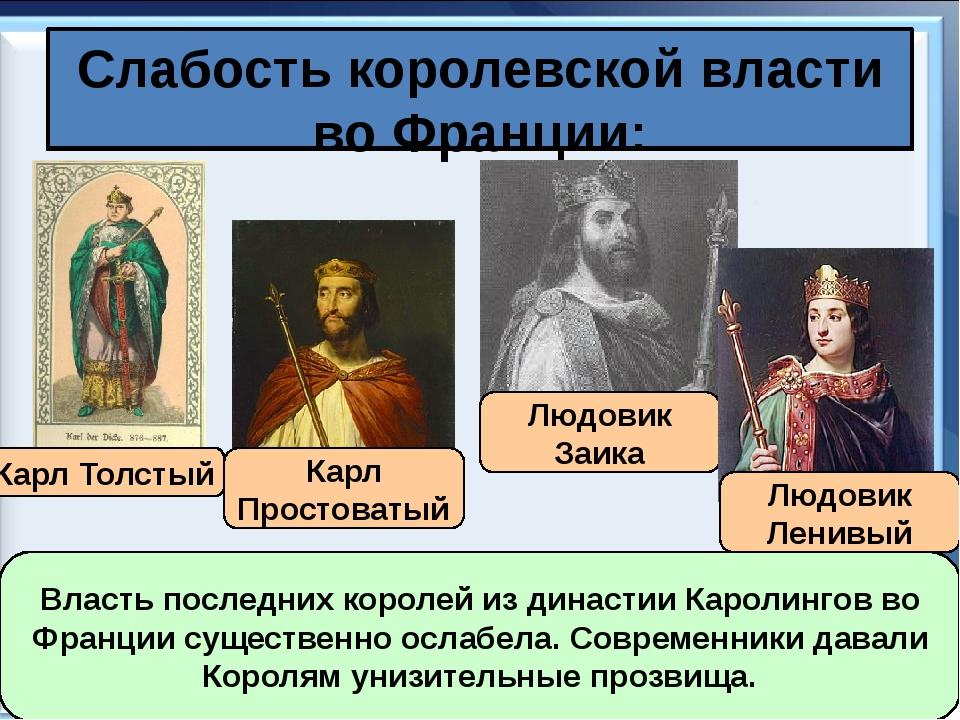 Слабость королевской власти во Франции: Карл Толстый Карл Простоватый Людовик...