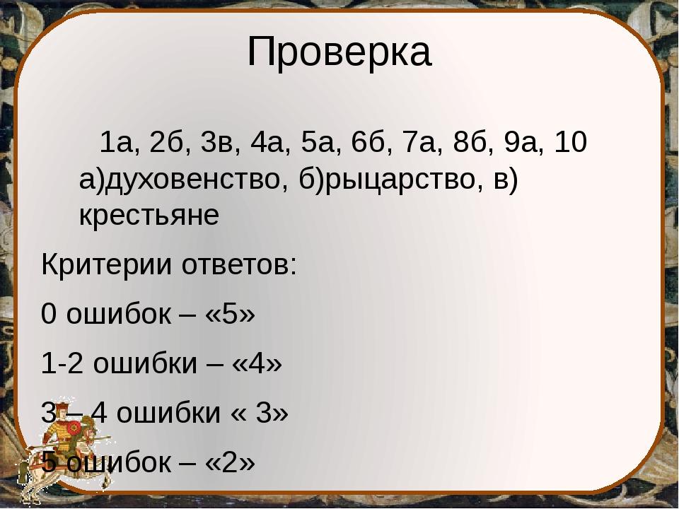 Проверка 1а, 2б, 3в, 4а, 5а, 6б, 7а, 8б, 9а, 10 а)духовенство, б)рыцарство, в...