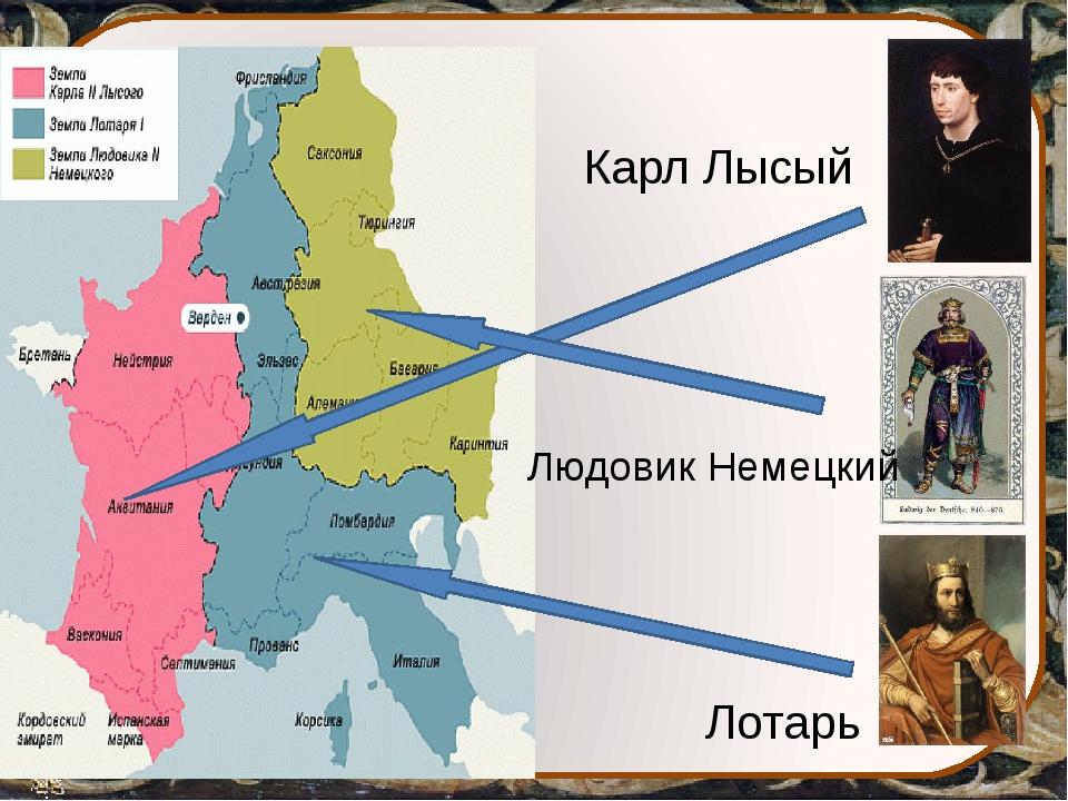 Карл Лысый Людовик Немецкий Лотарь