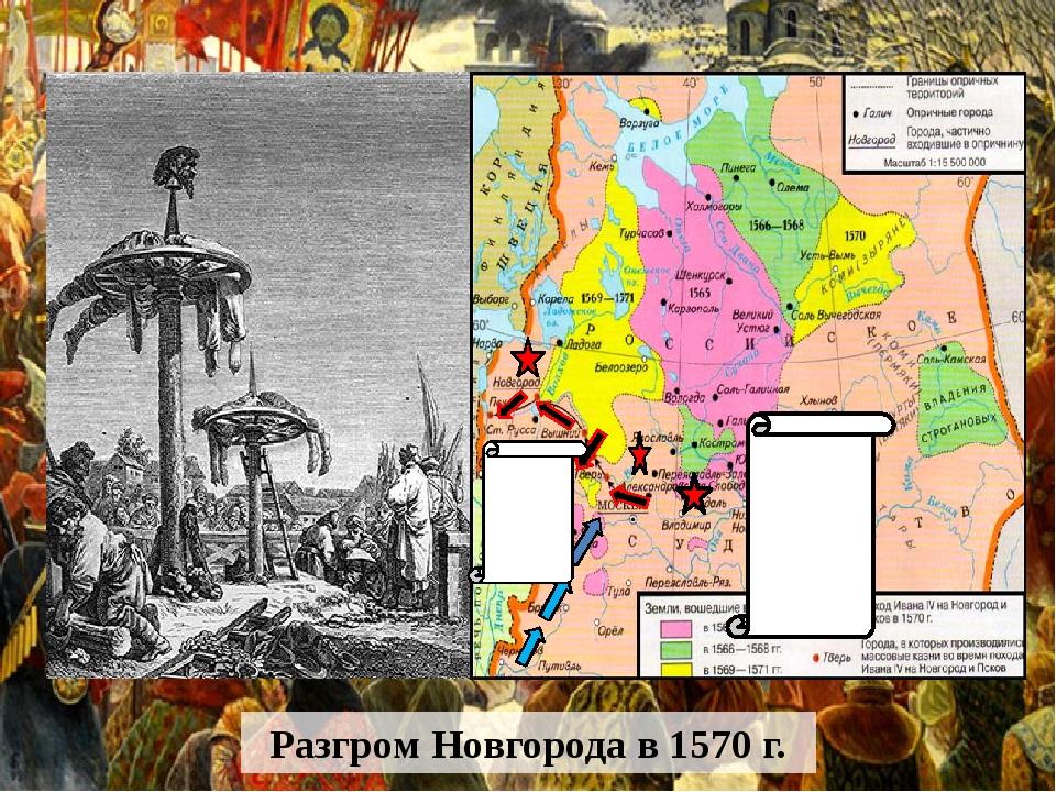 Разгром Новгорода в 1570 г. 1571 г. войско Дивлет Гирея сожгло Москву 1572 г....