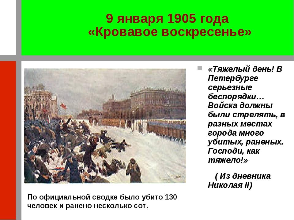 «Тяжелый день! В Петербурге серьезные беспорядки… Войска должны были стрелять...