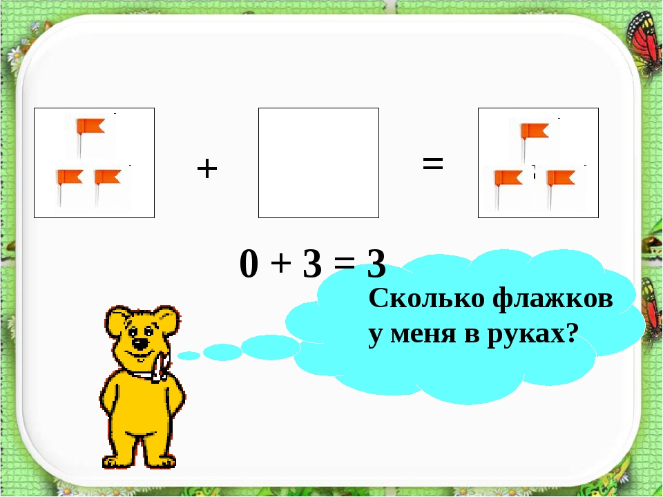 ? + = 0 + 3 = 3 Сколько флажков у меня в руках?