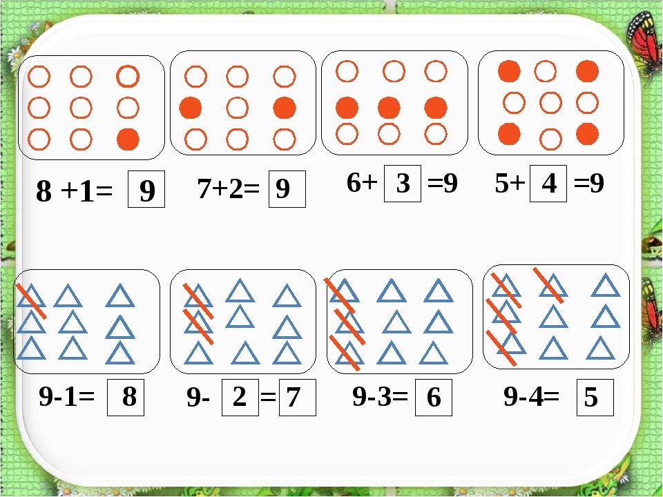 8 +1= 9 7+2= 9 6+ =9 5+ =9 9-1= 8 9- = 9-3= 9-4= 3 4 2 7 6 5 http://aida.ucoz...
