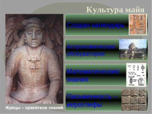 Жрецы – хранители знаний. Культура майя Письменность – иероглифы Создан кален