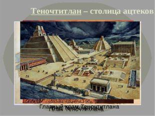 Теночтитлан – столица ацтеков План Теночтитлана Вид Теночтитлана Главный храм