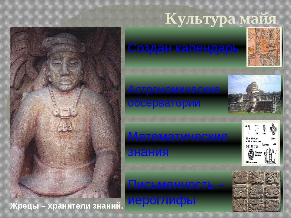 Жрецы – хранители знаний. Культура майя Письменность – иероглифы Создан кален...