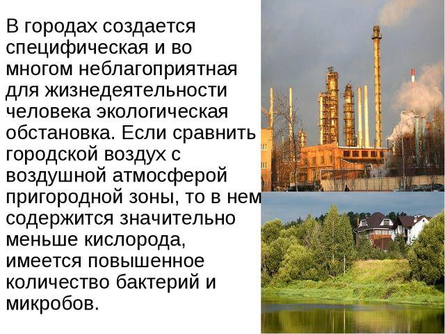 В городах создается специфическая и во многом неблагоприятная для жизнедеятел...