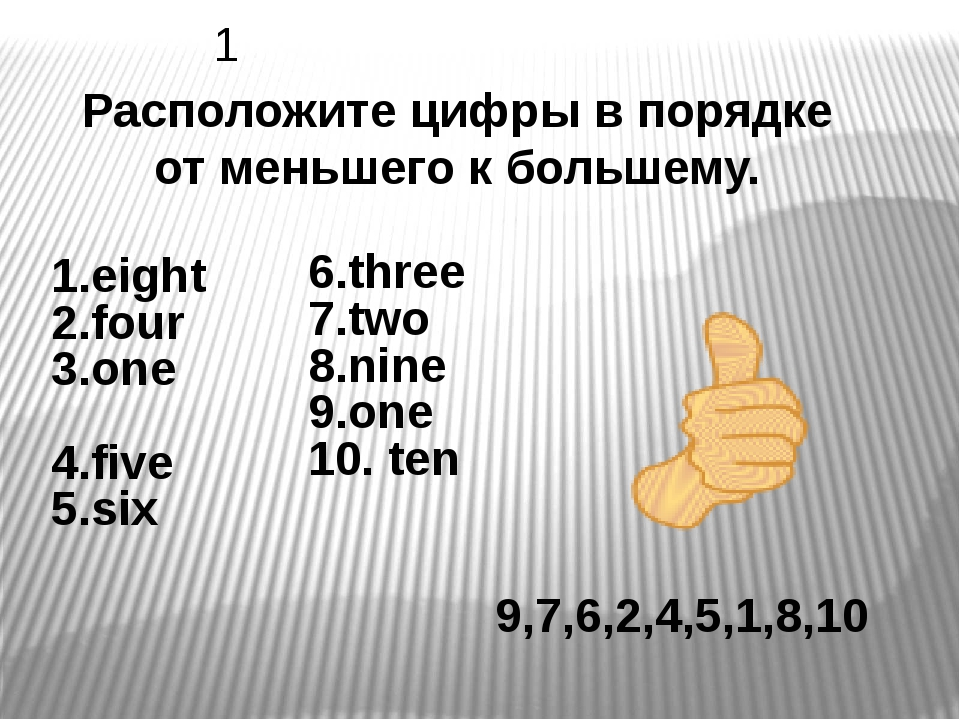 1.eight 2.four 3.one 4.five 5.six 9,7,6,2,4,5,1,8,10 Расположите цифры в пор...