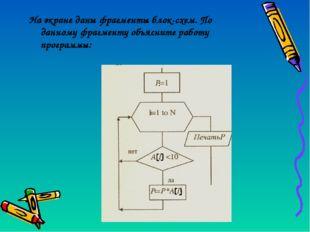 На экране даны фрагменты блок-схем. По данному фрагменту объясните работу про