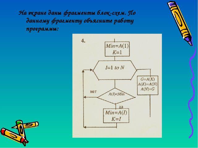 На экране даны фрагменты блок-схем. По данному фрагменту объясните работу про...
