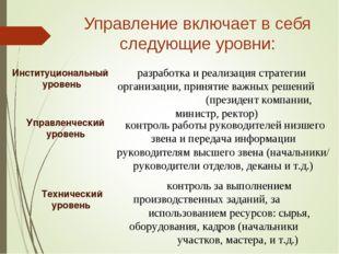 Управление включает в себя следующие уровни: разработка и реализация стратеги
