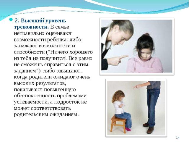 2. Высокий уровень тревожности. В семье неправильно оценивают возможности реб...