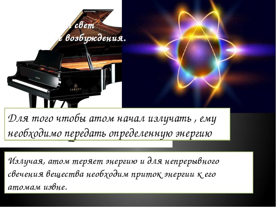 Зазвучит ли рояль сам по себе? Атом рождает свет только после возбуждения. Дл...