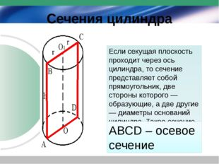 Сечения цилиндра Если секущая плоскость проходит через ось цилиндра, то сечен