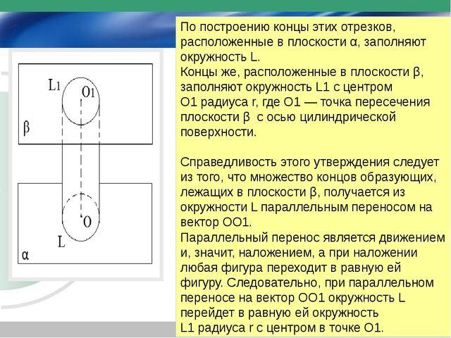 По построению концы этих отрезков, расположенные в плоскости α, заполняют окр...