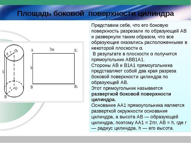 Площадь боковой поверхности цилиндра Представим себе, что его боковую поверх...