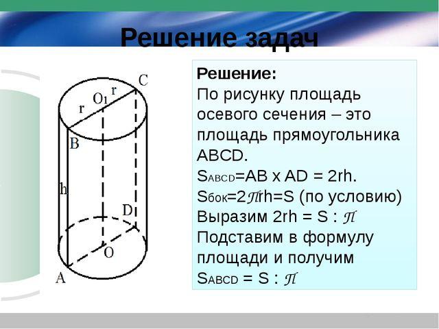 Решение задач Решение: По рисунку площадь осевого сечения – это площадь прямо...